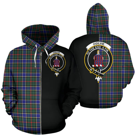 Ogilvie Hunting Modern Tartan Hoodie Half Of Me TH8