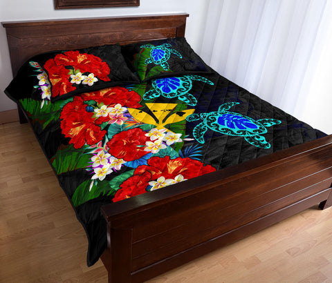 Kanaka Maoli (Hawaiian) Quilt Bed Set - Polynesian Hibiscus Turtle Palm Leaves