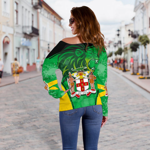 Jamaica Lion Women Off Shoulder Sweater Circle Stripes Flag Version K13