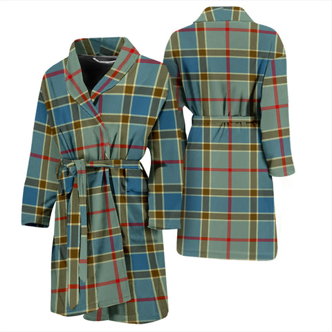 Balfour Blue Bathrobe - Men Tartan Plaid Bathrobe Universal Fit