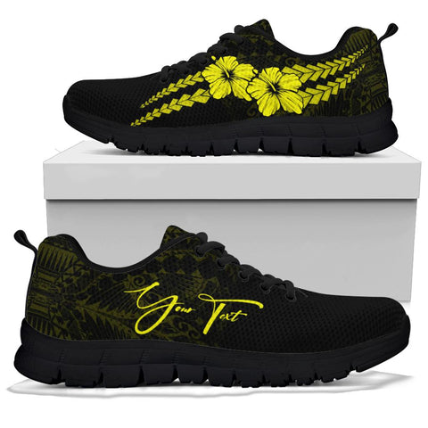 (Custom) Polynesian Sneakers Hibiscus Personal Signature Yellow