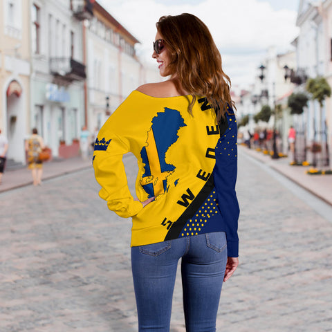 Image of Sweden Map Generation II Off Shoulder Sweater K6