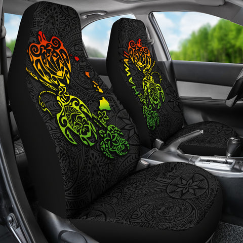 Hawaii Family Turtles Map Polynesian Car Seat Covers - Rasta 2