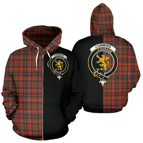 (Custom your text) Cumming Hunting Weathered Tartan Hoodie Half Of Me TH8