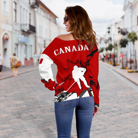 Canada Women's Off Shoulder Sweater - Maple Leaf Hockey A02
