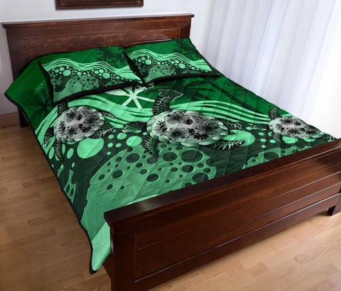 Hawaii Quilt Bed Set - Green Turtle Hibiscus A24