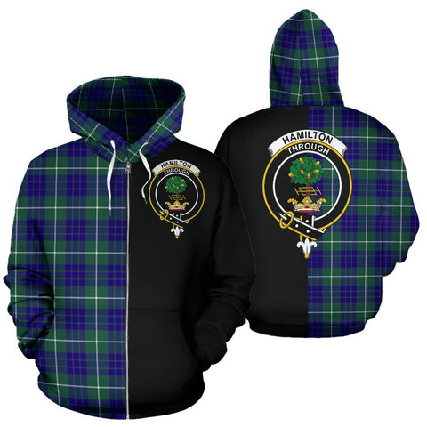 Image of (Custom your text) Hamilton Hunting Modern Tartan Hoodie Half Of Me TH8
