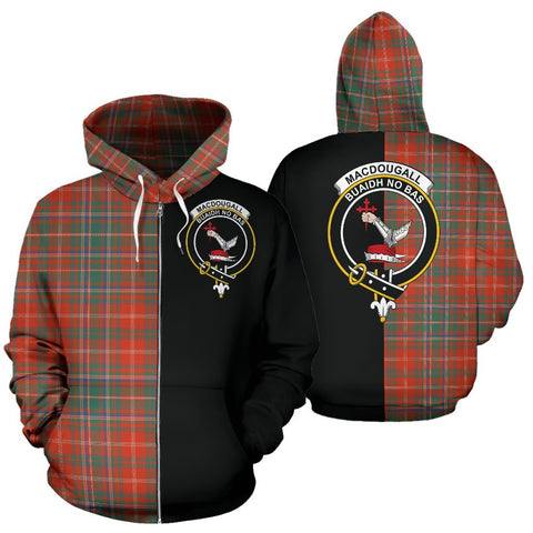 (Custom your text) MacDougall Ancient Tartan Hoodie Half Of Me TH8