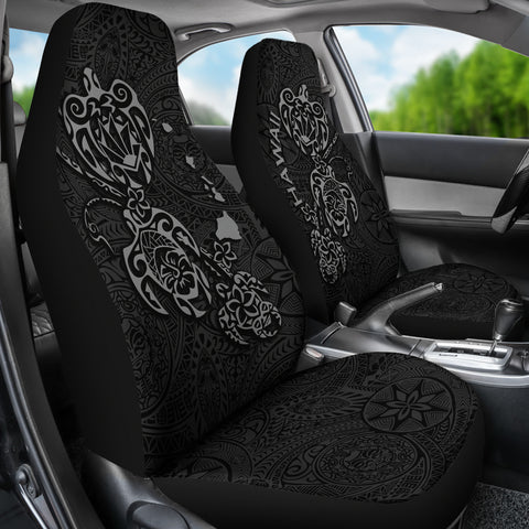 Image of Hawaii Family Turtles Map Polynesian Car Seat Covers - Grey 2