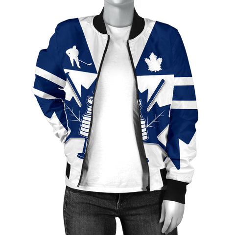 Canada Hockey Maple Leaf Champion Women Bomber Jacket K4