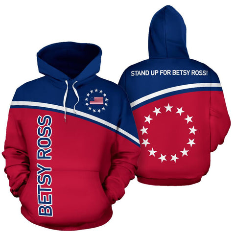 Betsy Ross Flag Hoodie - Curved Style - BN14