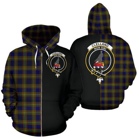 (Custom your text) Clelland Modern Tartan Hoodie Half Of Me TH8