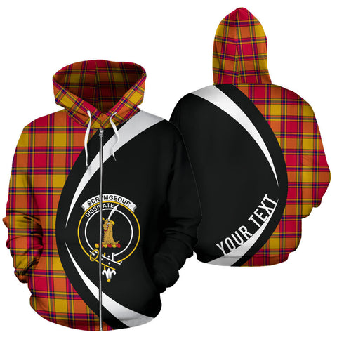 (Custom your text) Scrymgeour Tartan Circle Zip Hoodie HJ4
