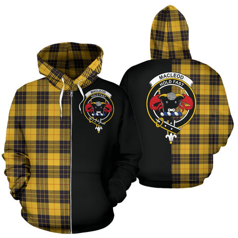 MacLeod of Lewis Ancient Tartan Hoodie Half Of Me TH8