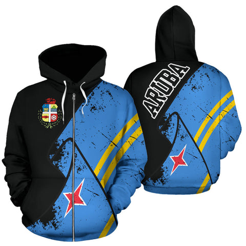 Aruba Special Grunge Flag Zipper Hoodie | High Quality | Hot Sale
