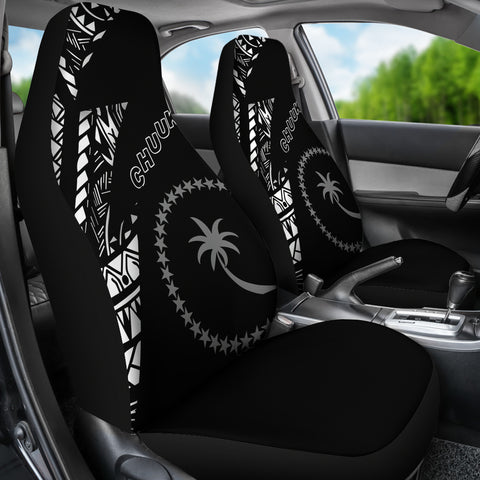 Image of Chuuk Pattern Car Seat Covers - Black Style - FSM - BN912