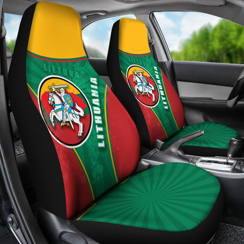 Image of Lithuania - Lietuva Car Seat Covers Circle Stripes Flag Proud Version K13