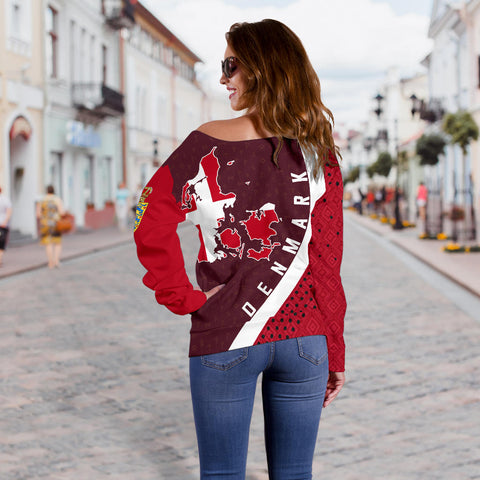 Denmark Map Generation II Off Shoulder Sweater K6 - Dark Red - Back - for Women