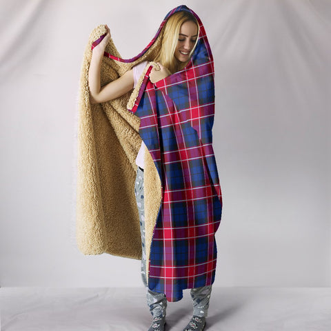 Image of Graham of Menteith Red, hooded blanket, tartan hooded blanket, Scots Tartan, Merry Christmas, cyber Monday, xmas, snow hooded blanket, Scotland tartan, woven blanket