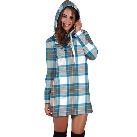 Stewart Muted Blue Tartan Hoodie Dress HJ4