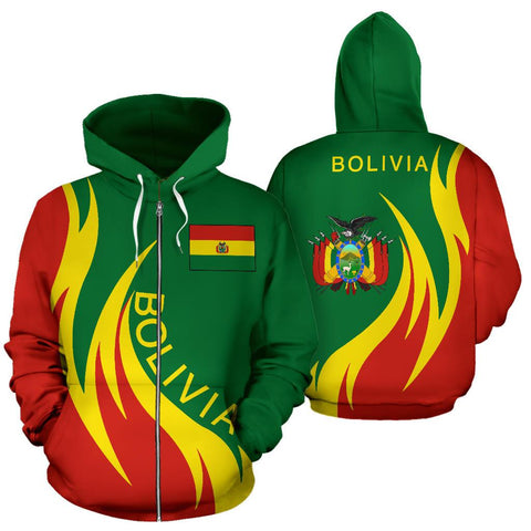 Bolivia Hoodie (Zip) Coat Of Arms Fire Style