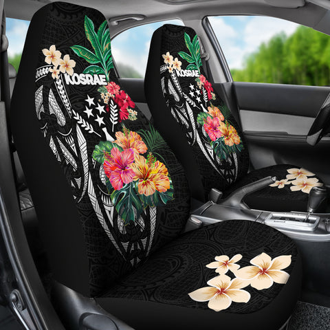 Kosrae Car Seat Covers Coat Of Arms Polynesian With Hibiscus TH5