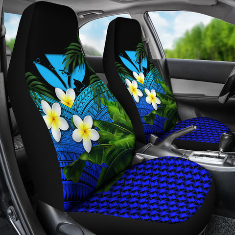 Kanaka Maoli (Hawaiian) Car Seat Covers, Polynesian Plumeria Banana Leaves Blue | Love The World