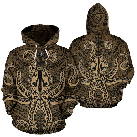 Image of Polynesian Hoodie - Octopus Tattoo (Zip)