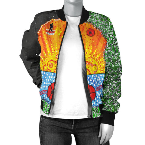 Aboriginal Australian Anzac Day Women Bomber Jacket - Lest We Forget Poppy 3