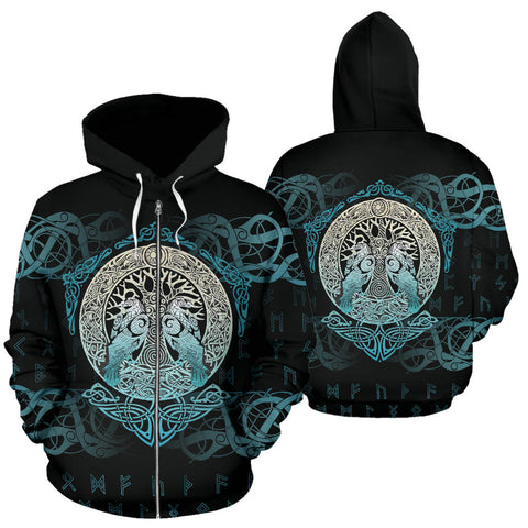 Image of Viking Hoodie Yggdrasil and Ravens (Zipper) A7