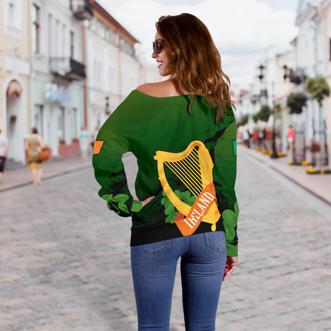 The Irish Harp Women's Off Shoulder Sweater | Special Custom Design