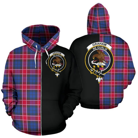 (Custom your text) Graham of Menteith Red Tartan Hoodie Half Of Me TH8