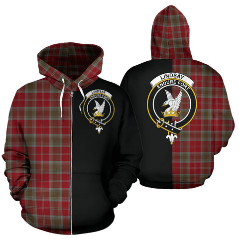 (Custom your text) Lindsay Weathered Tartan Hoodie Half Of Me TH8