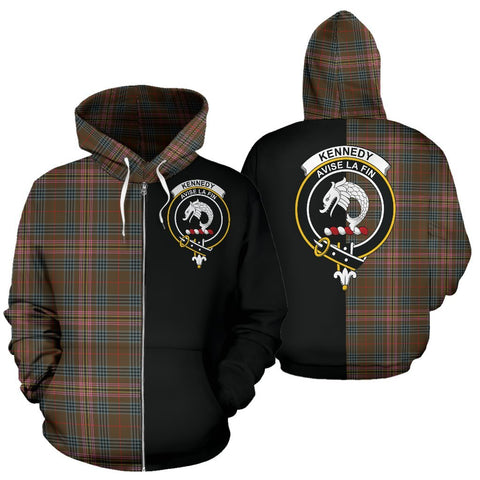 (Custom your text) Kennedy Weathered Tartan Hoodie Half Of Me TH8