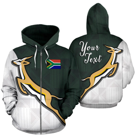 South Africa Springboks Forever Personalized Zip Up Hoodie front and back