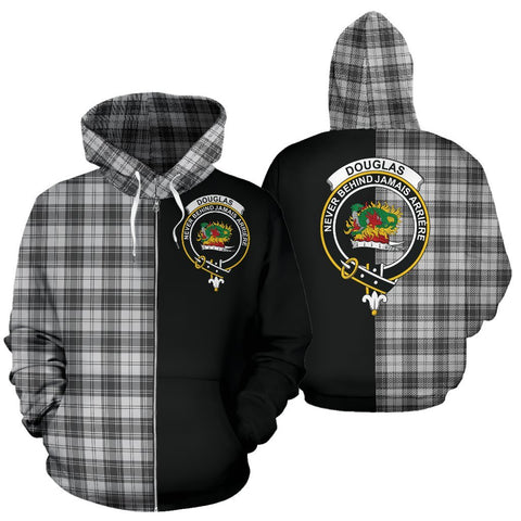(Custom your text) Douglas Grey Modern Tartan Hoodie Half Of Me TH8
