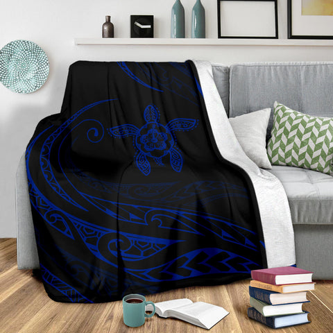 Hawaii Turtle Hibicus Premium Blanket - Frida Style - Blue - AH - J96