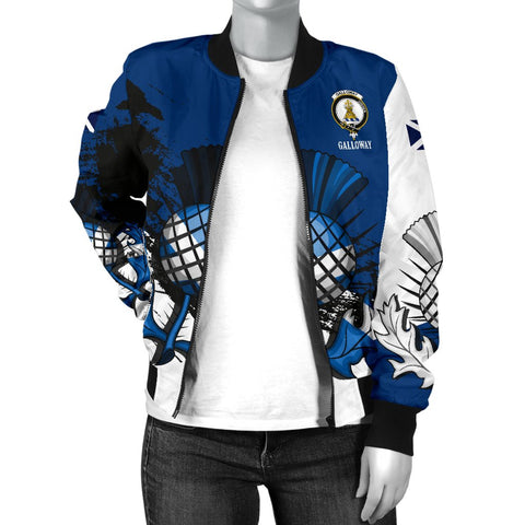 Image of Galloway Crest Scottish Thistle Scotland Women's Bomber Jacket | Over 300 Clans | Clothing | Apparel