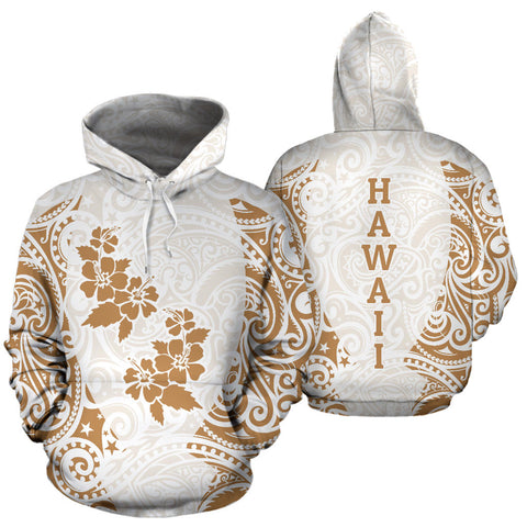 Image of Hawaii Hoodie Polynesian Hibiscus White Gold