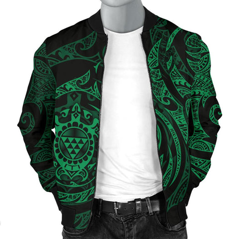 Image of Polynesian Hawaii Men's Bomber Jacket - Green Turtle Tribal - BN12