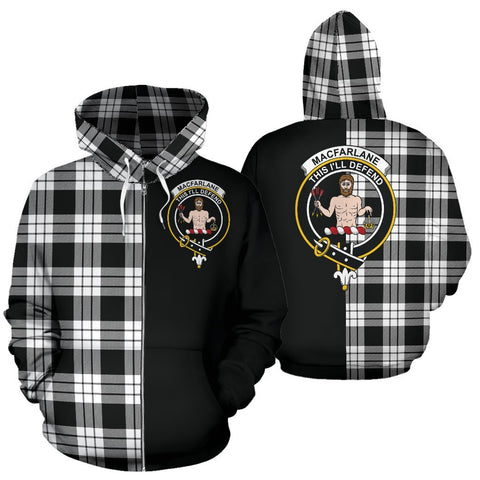 (Custom your text) MacFarlane Black & White Tartan Hoodie Half Of Me TH8