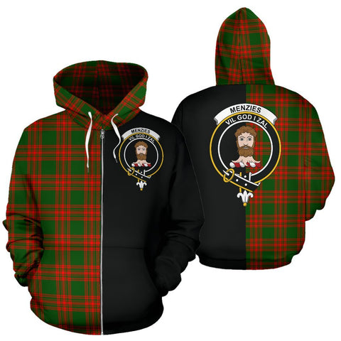 (Custom your text) Menzies Green Modern Tartan Hoodie Half Of Me TH8
