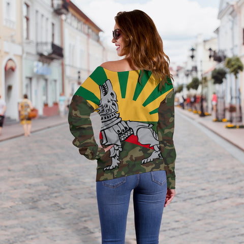 Lithuania Off Shoulder Sweater Iron Wolf A7