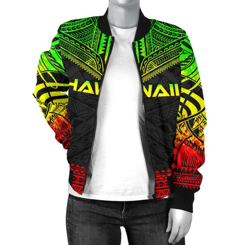 Image of Hawaii Polynesian Chief Women'S Bomber Jacket - Reggae Version - Bn10