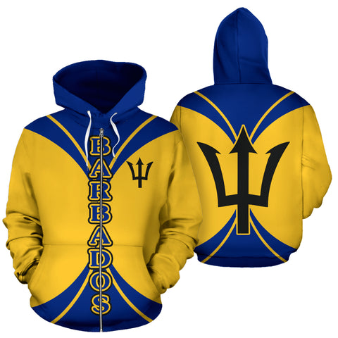 Barbados, All Over zip-up Hoodie, Barbados zip-up Hoodie, zip-up hoodie