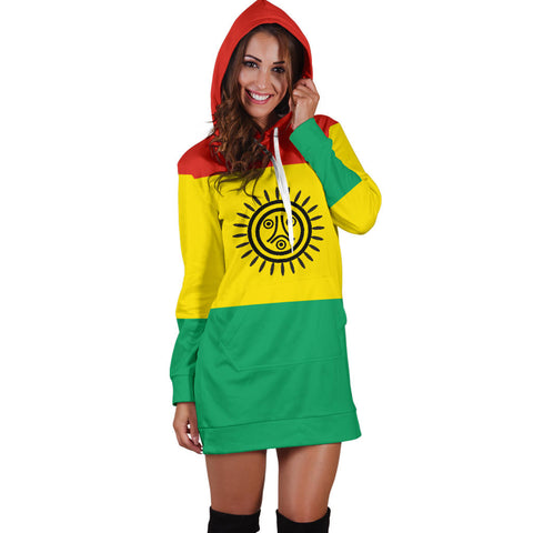Image of Puerto Rico Jatibonicu Taino Flag Hoodie Dress K5