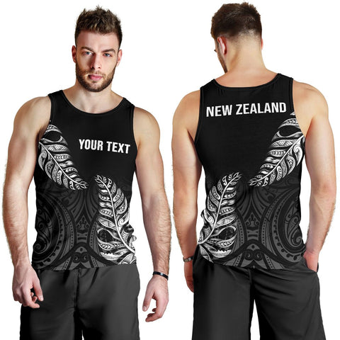 1stTheWorld Custom Aotearoa New Zealand - Maori Silver Fern Men Tank Top Black A10