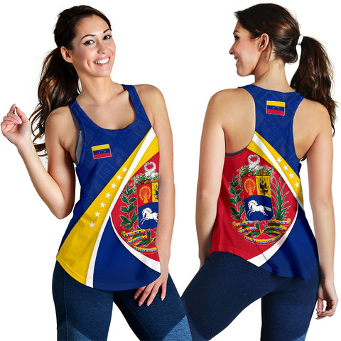 1stTheWorld Venezuela Racerback Tank, Venezuela Coat Of Arms Pattern Women  A10