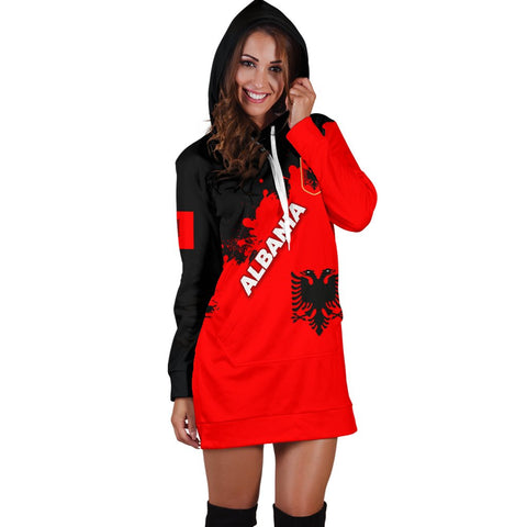 Albania Women Hoodie Dress Red Braved Version K12