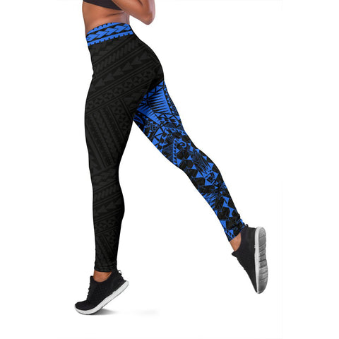 Polynesian Leggings Turtle Tattoo Blue A62